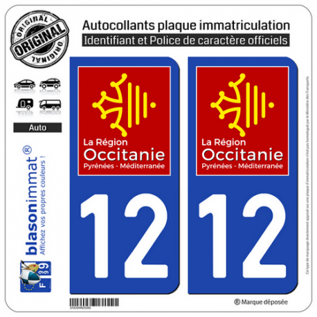 2 Autocollants plaque imatriculation Auto 12 Occitanie - LogoType