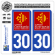 2 Autocollants plaque imatriculation Auto 30 Occitanie - LogoType