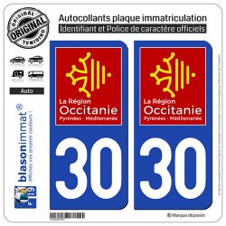 2 Autocollants plaque immatriculation Auto 30 Occitanie - LogoType