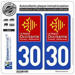 2 Autocollants plaque imatriculation Auto 30 Occitanie - LogoType