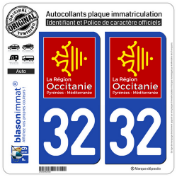 2 Autocollants plaque immatriculation Auto 32 Occitanie - LogoType