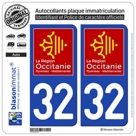 2 Autocollants plaque imatriculation Auto 32 Occitanie - LogoType