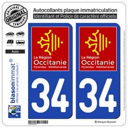 2 Autocollants plaque immatriculation Auto 34 Occitanie - LogoType