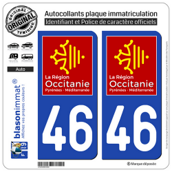 2 Autocollants plaque imatriculation Auto 46 Occitanie - LogoType