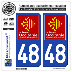 2 Autocollants plaque imatriculation Auto 48 Occitanie - LogoType
