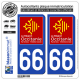 2 Autocollants plaque immatriculation Auto 66 Occitanie - LogoType