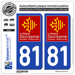 2 Autocollants plaque imatriculation Auto 81 Occitanie - LogoType