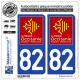2 Autocollants plaque imatriculation Auto 82 Occitanie - LogoType