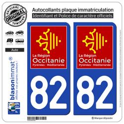 2 Autocollants plaque immatriculation Auto 82 Occitanie - LogoType