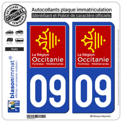2 Autocollants plaque immatriculation Auto 09 Occitanie - LogoType