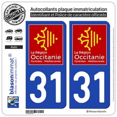 2 Autocollants plaque imatriculation Auto 31 Occitanie - LogoType