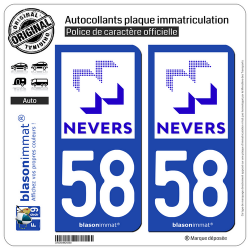 2 Autocollants plaque immatriculation Auto 58 Nevers - Ville