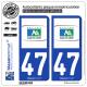 2 Autocollants plaque immatriculation Auto 47 Aquitaine - Tourisme