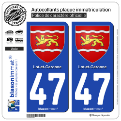 2 Autocollants plaque immatriculation Auto 47 Lot-et-Garonne - Armoiries