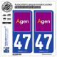 2 Autocollants plaque immatriculation Auto 47 Agen - Ville