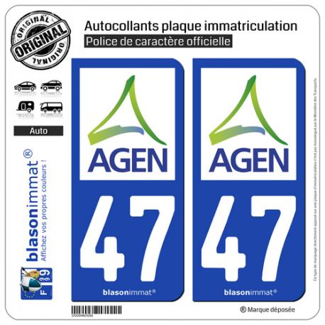 2 Autocollants plaque immatriculation Auto 47 Agen - Agglo