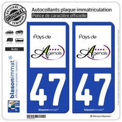 2 Autocollants plaque immatriculation Auto 47 Agen - Pays