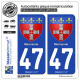 2 Autocollants plaque immatriculation Auto 47 Marmande - Armoiries