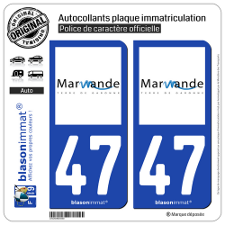 2 Autocollants plaque immatriculation Auto 47 Marmande - Ville