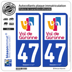 2 Autocollants plaque immatriculation Auto 47 Marmande - Agglo