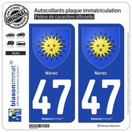 2 Autocollants plaque immatriculation Auto 47 Nérac - Armoiries