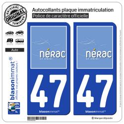 2 Autocollants plaque immatriculation Auto 47 Nérac - Ville
