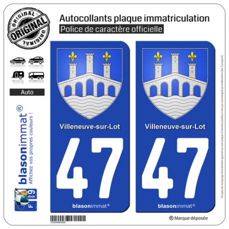 2 Autocollants plaque immatriculation Auto 47 Villeneuve-sur-Lot - Armoiries