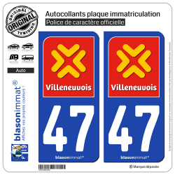 2 Autocollants plaque immatriculation Auto 47 Villeneuve-sur-Lot - Agglo