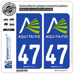 2 Autocollants plaque immatriculation Auto 47 Aquitaine - Nostalgie