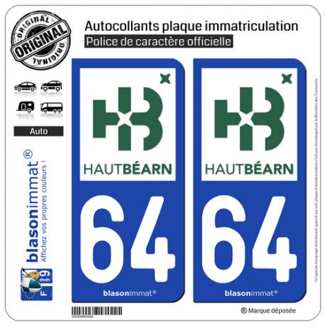 2 Autocollants plaque immatriculation Auto 64 Oloron-Sainte-Marie - Agglo