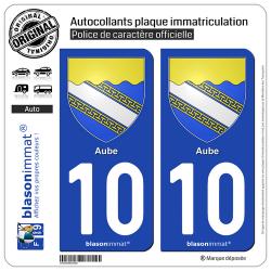 2 Autocollants plaque immatriculation Auto 10 Aube - Armoiries