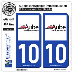 2 Autocollants plaque immatriculation Auto 10 Aube - Département