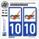 2 Autocollants plaque immatriculation Auto 10 Bar-sur-Aube - Agglo