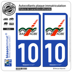 2 Autocollants plaque immatriculation Auto 10 Bar-sur-Aube - Agglo