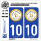 2 Autocollants plaque immatriculation Auto 10 Champagne-Ardenne - Tourisme