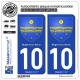 2 Autocollants plaque immatriculation Auto 10 Nogent-sur-Seine - Armoiries