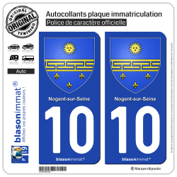 2 Autocollants plaque immatriculation Auto 10 Nogent-sur-Seine - Armoiries