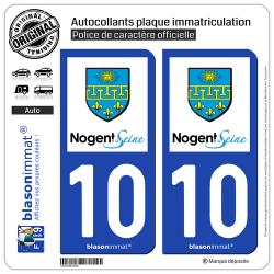 2 Autocollants plaque immatriculation Auto 10 Nogent-sur-Seine - Ville