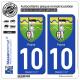 2 Autocollants plaque immatriculation Auto 10 Payns - Armoiries