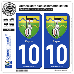 2 Autocollants plaque immatriculation Auto 10 Payns - Armoiries