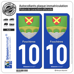2 Autocollants plaque immatriculation Auto 10 Fouchères - Armoiries
