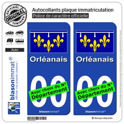 2 Autocollants plaque immatriculation Auto Orléanais - Drapeau