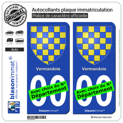 2 Autocollants plaque immatriculation Auto Vermandois - Armoiries