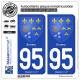 2 Autocollants plaque immatriculation Auto 95 Ennery - Armoiries