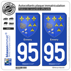 2 Autocollants plaque immatriculation Auto 95 Ennery - Armoiries