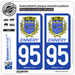 2 Autocollants plaque immatriculation Auto 95 Ennery - Commune