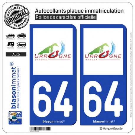 2 Autocollants plaque immatriculation Auto 64 Urrugne - Commune