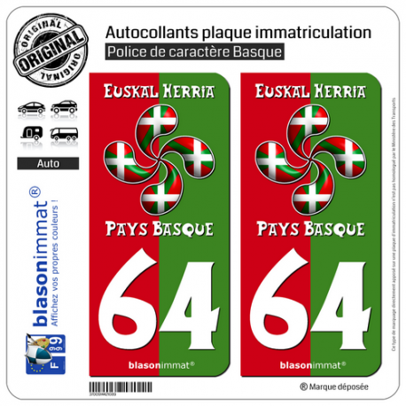 2 Autocollants plaque immatriculation Auto 64 Pays Basque - Collector