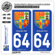 2 Autocollants plaque immatriculation Auto 64 Pays Basque - Armoiries