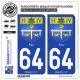2 Autocollants plaque immatriculation Auto 64 Pau - Armoiries